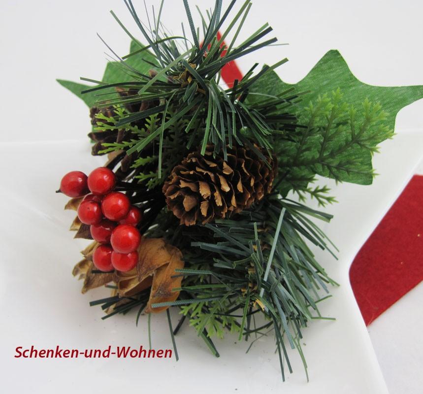 Künstlicher Weihnachts - Pick mit Zapfen 20 cm
