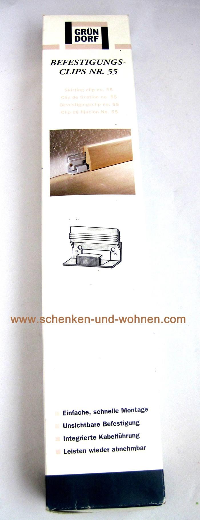 Befestigungsclips Nr. 55 30 Stück Sockelleiste