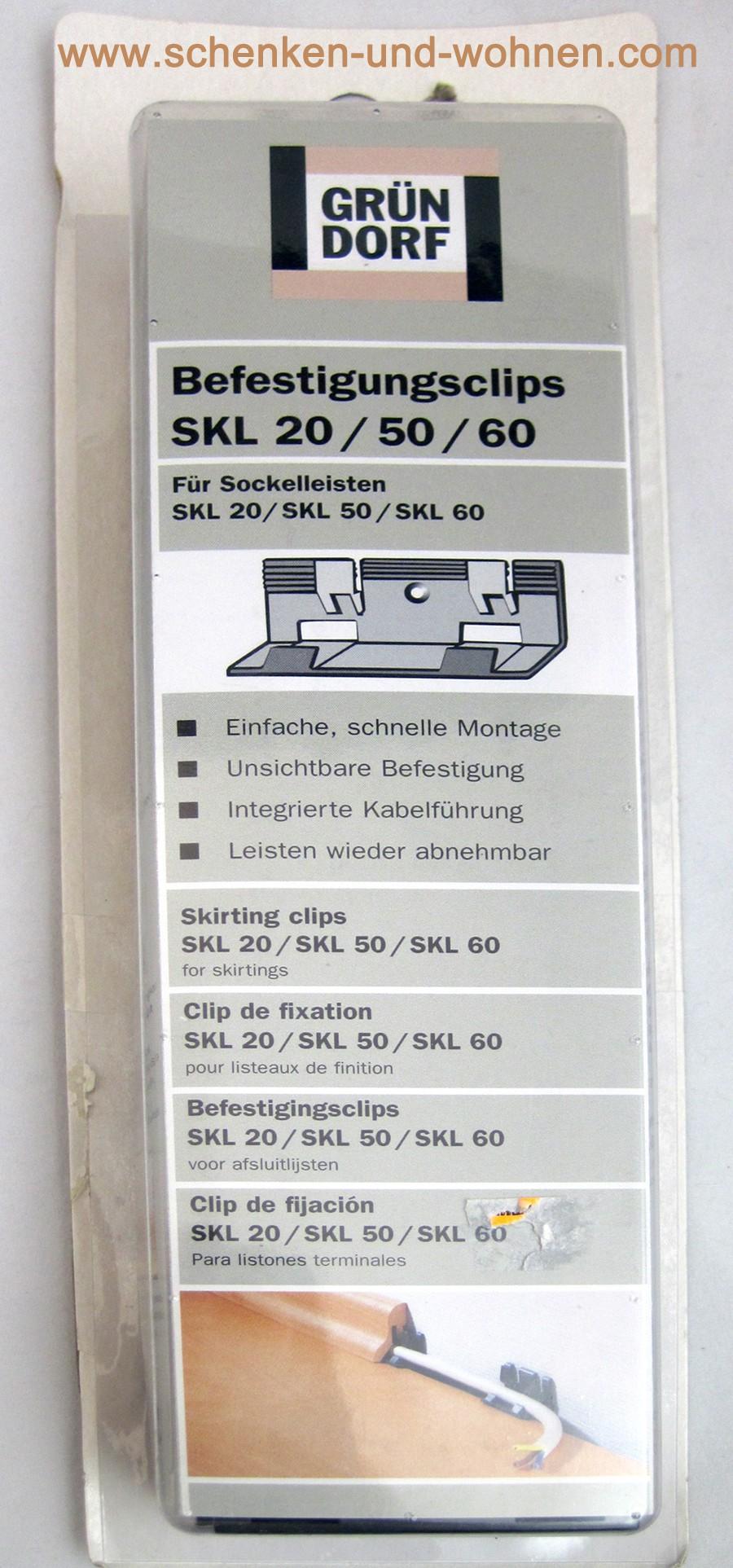 Befestigungsclips für SKL 20/50/60  30 Stück Sockelleiste