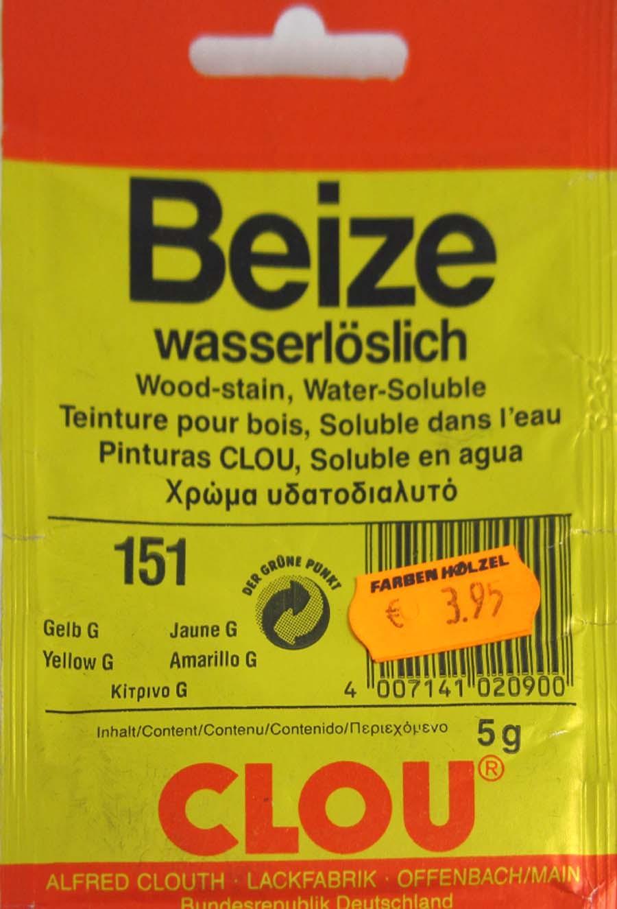 Beize Gelb 151 G wasserlöslich 5 g Clou