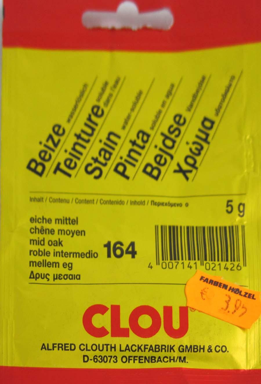 Beize Eiche mittel 164 wasserlöslich 5 g Clou