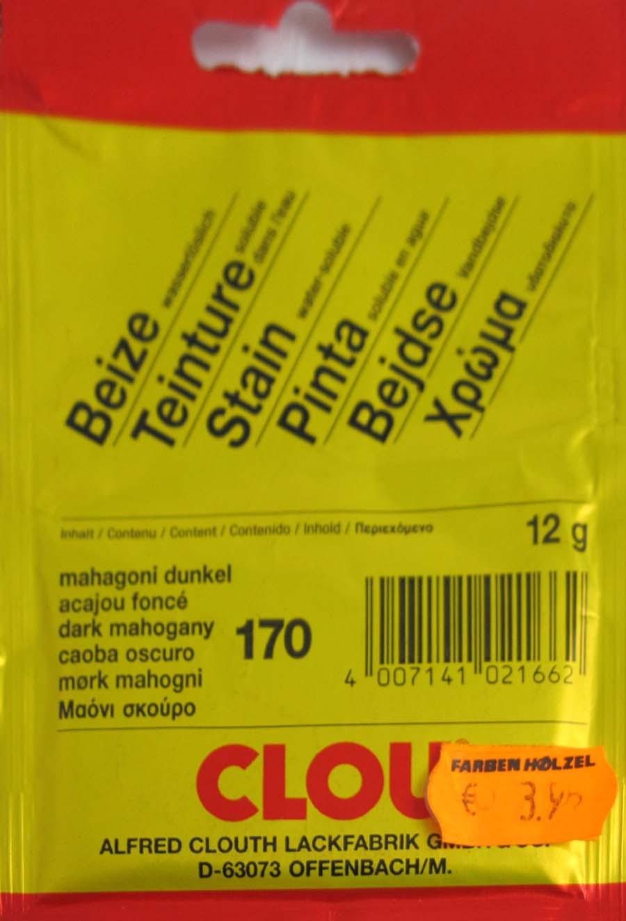 Beize Mahagoni dunkel 170 wasserlöslich 12 g Clou