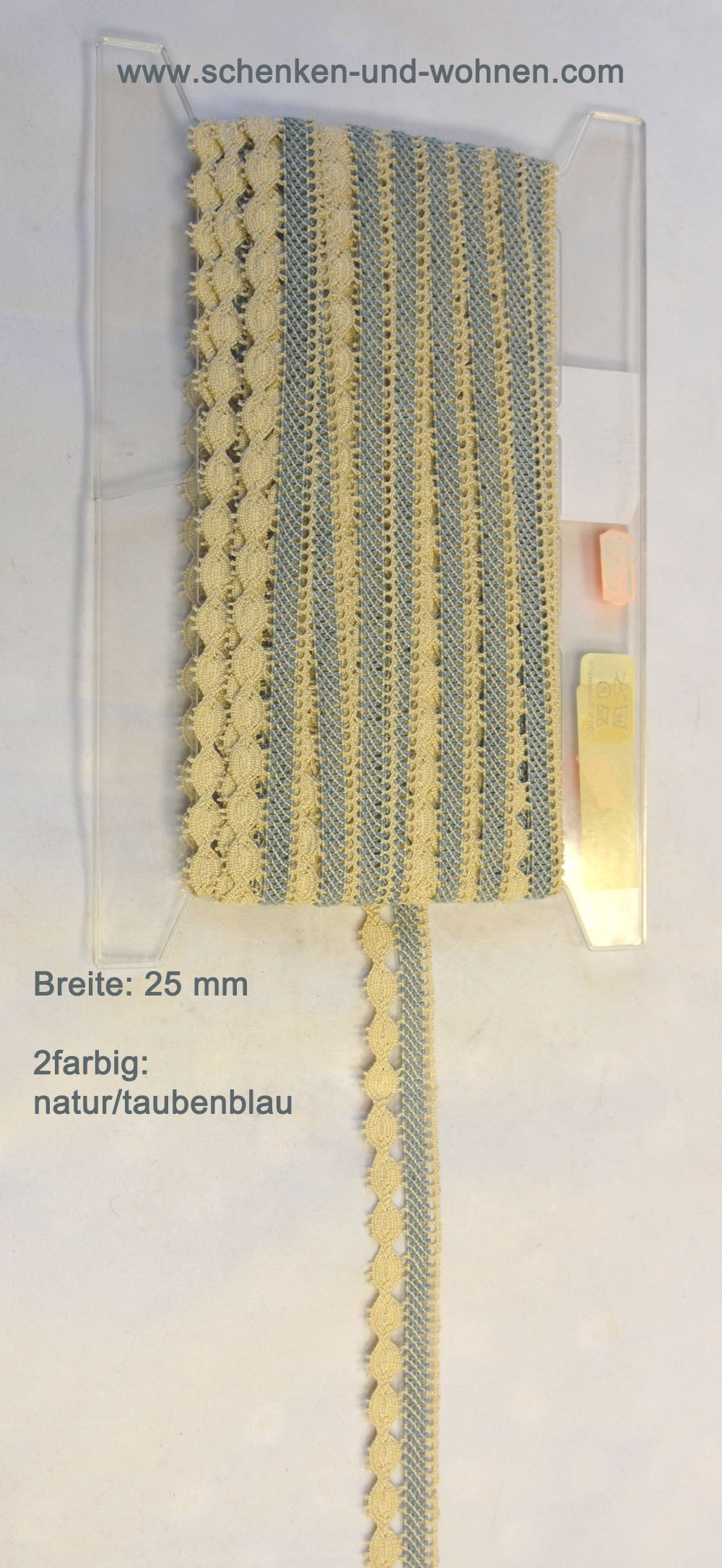 Baumwoll-Spitze Borte 25 mm breit 2farbig natur-taubenblau