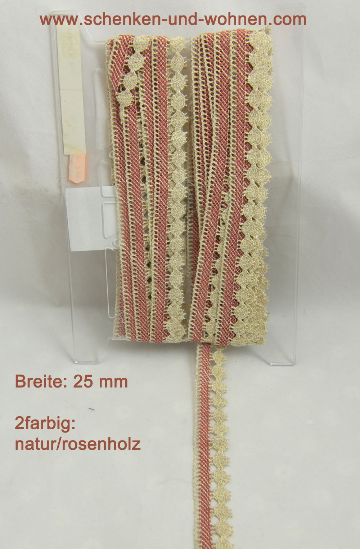 Baumwoll-Spitze Borte 25 mm breit 2farbig natur-rosenholz