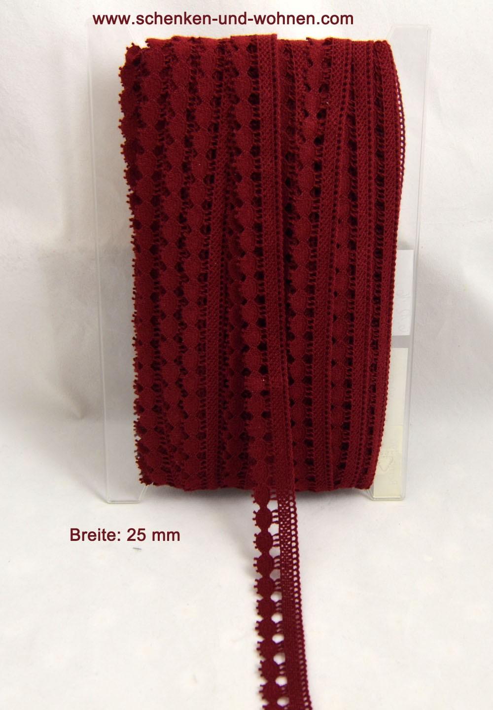 Baumwoll-Spitze Borte 25 mm breit bordeaux Bernau