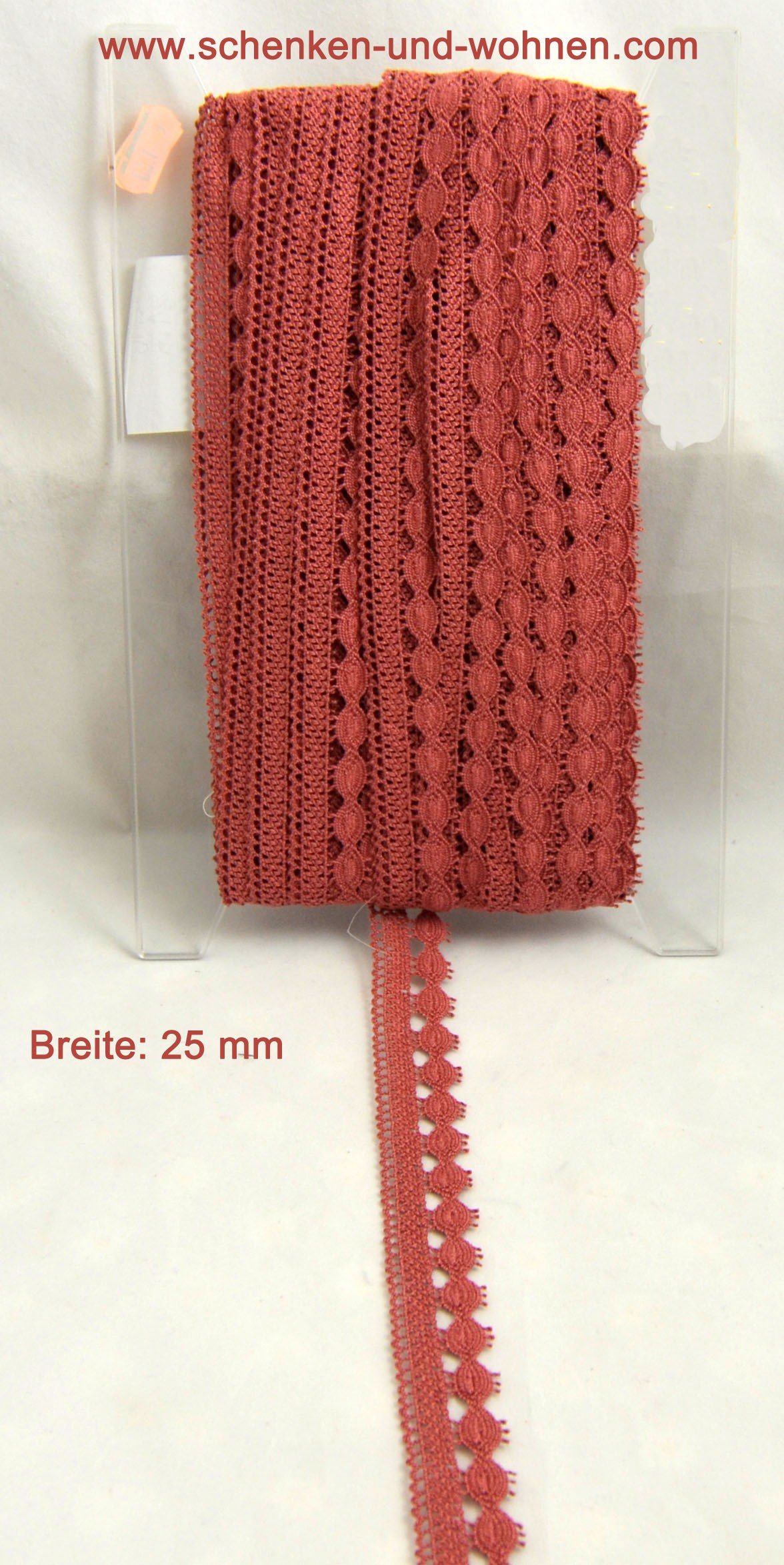 Baumwoll-Spitze Borte 25 mm breit rosenholz Bernau
