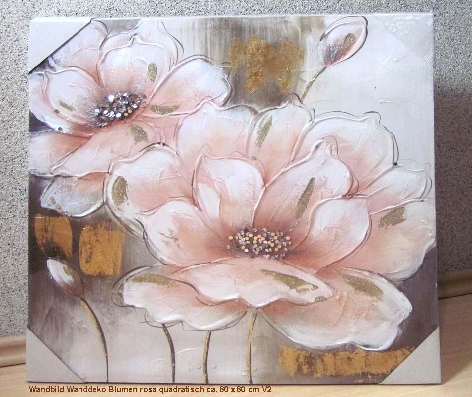 Wandbild Wanddeko Blumen rosa quadratisch ca. 60 x 60 cm V2