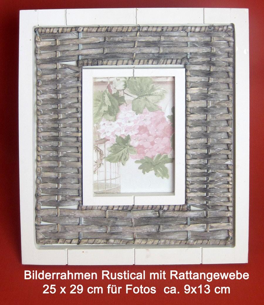 Bilderrahmen Rustikal  mit Rattangewebe ca. 25x29 cm