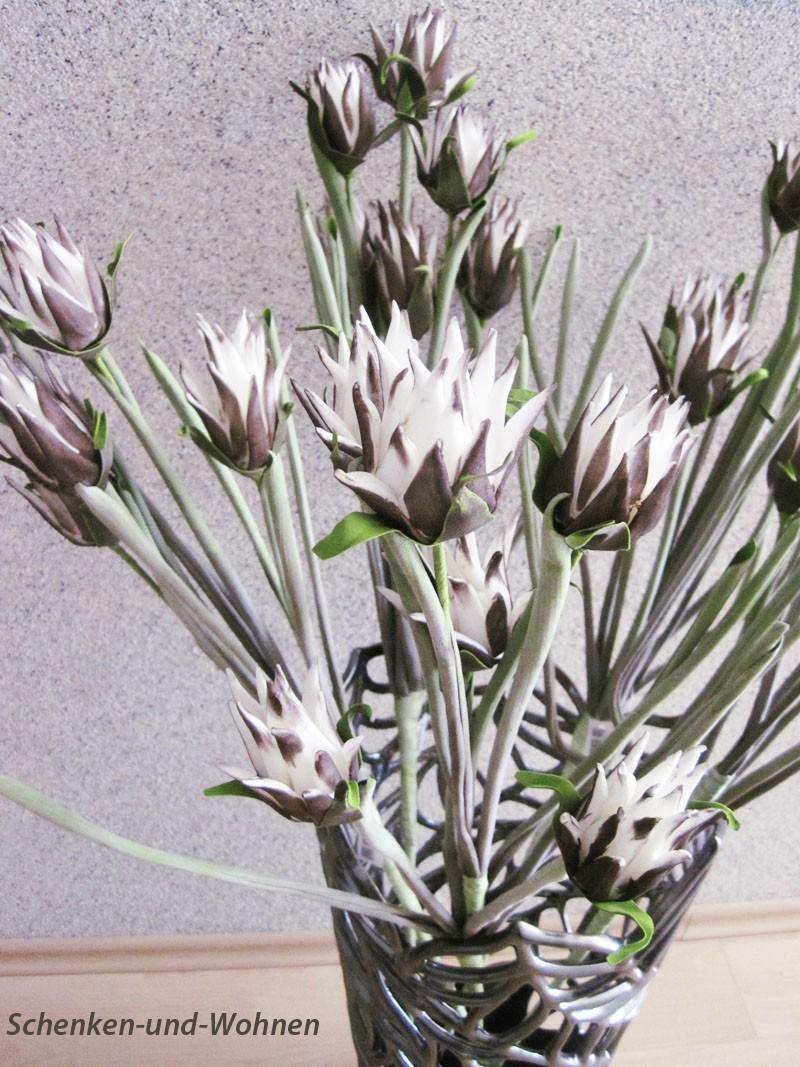 Kunststoffblüte - Blütenzweig geschäumt,  Grau/Weiß ca. 95 cm