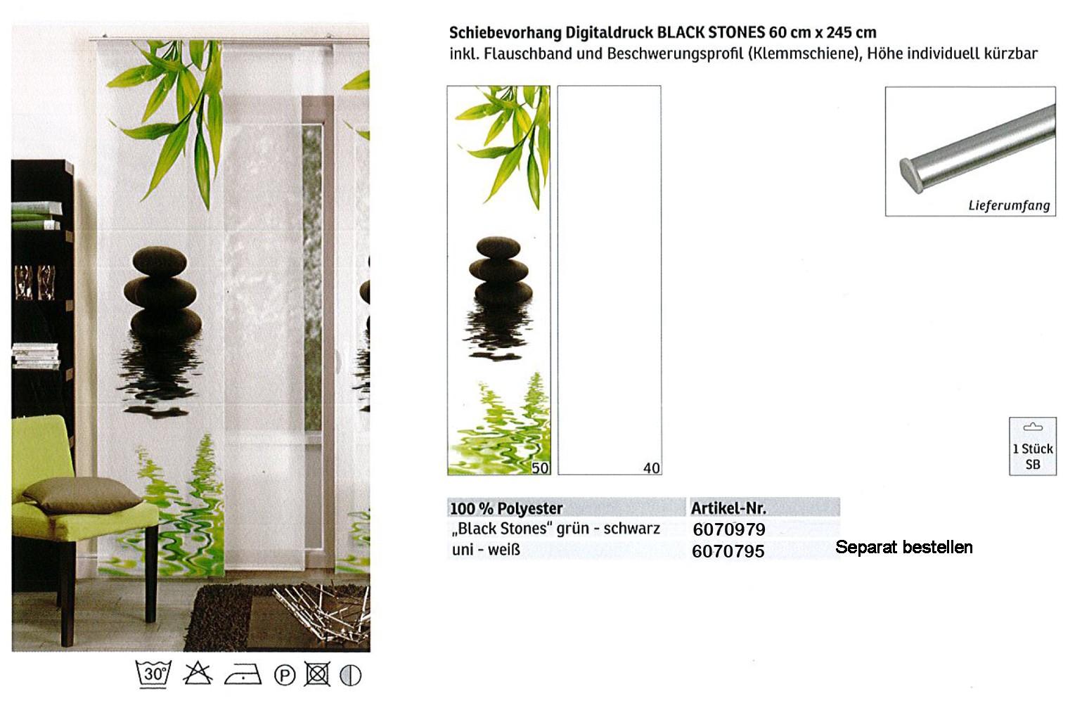 Schiebevorhang Digitaldruck Black Stones Grün-Schwarz, ca.60 x 245 cm