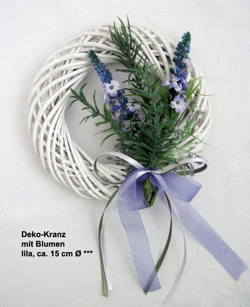 Deko-Kranz mit Blumen, lila, ca. 15 cm Ø V2