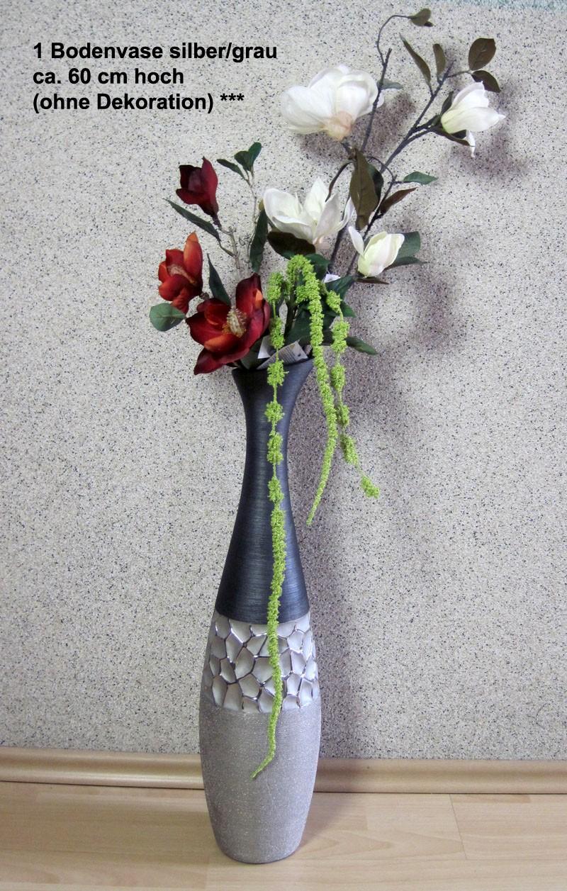 1 Bodenvase Keramik schmal silber/grau ca. 60x15 (H/B)