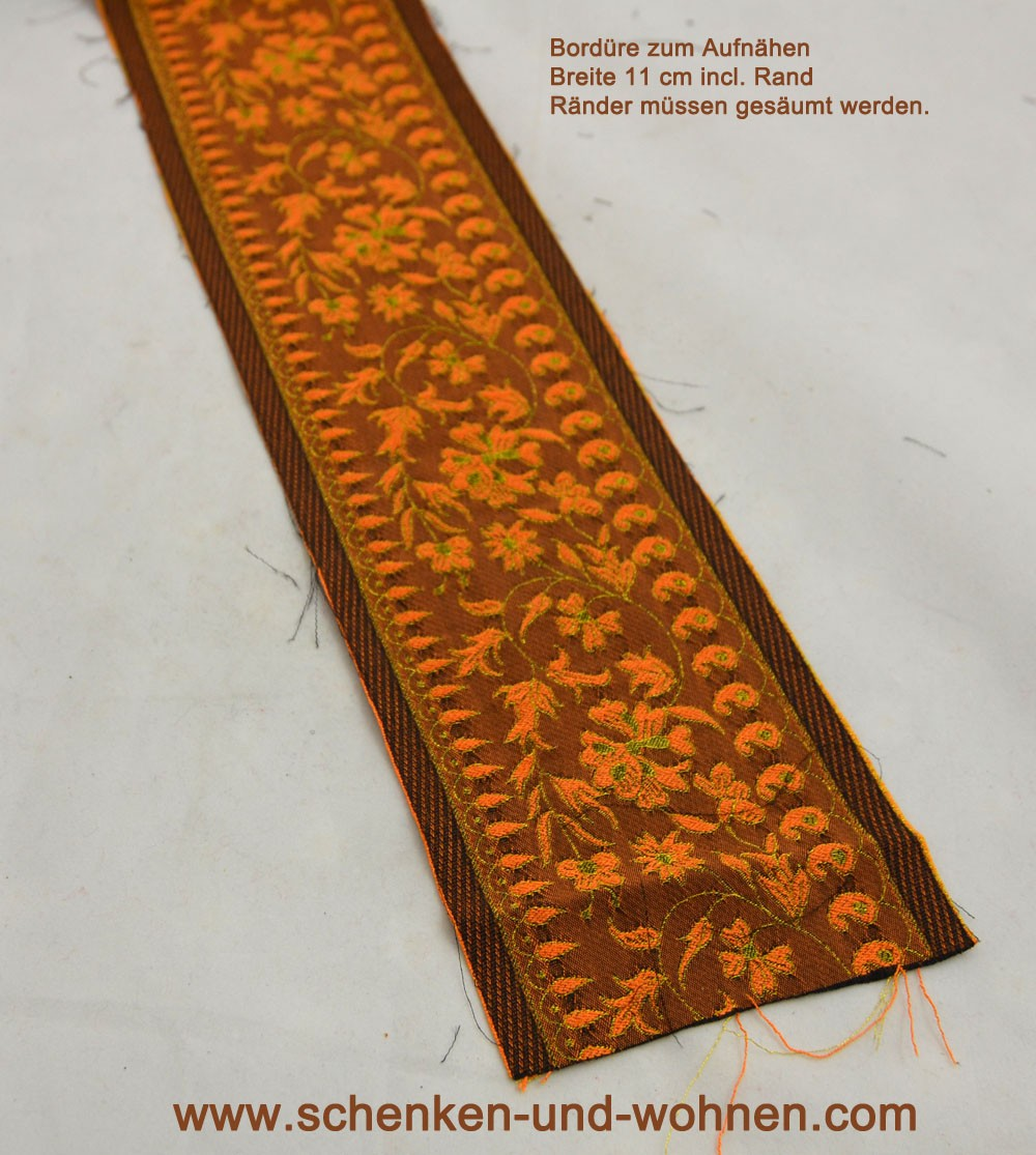 Borte Bordüre zum Aufnähen 9 cm breit orange-braun-goldlurex