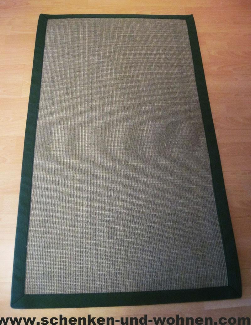 Bordürenteppich - 100% Sisal Naturfaser, grün 80 x 260 cm