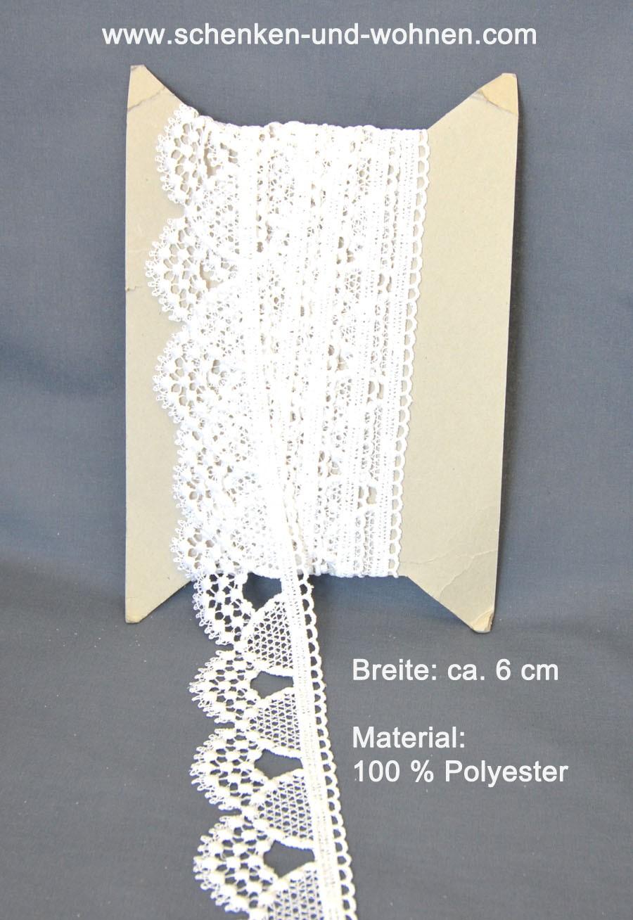 Borte Bordüre Spitze zum Aufnähen 6,5 cm weiß Bogen