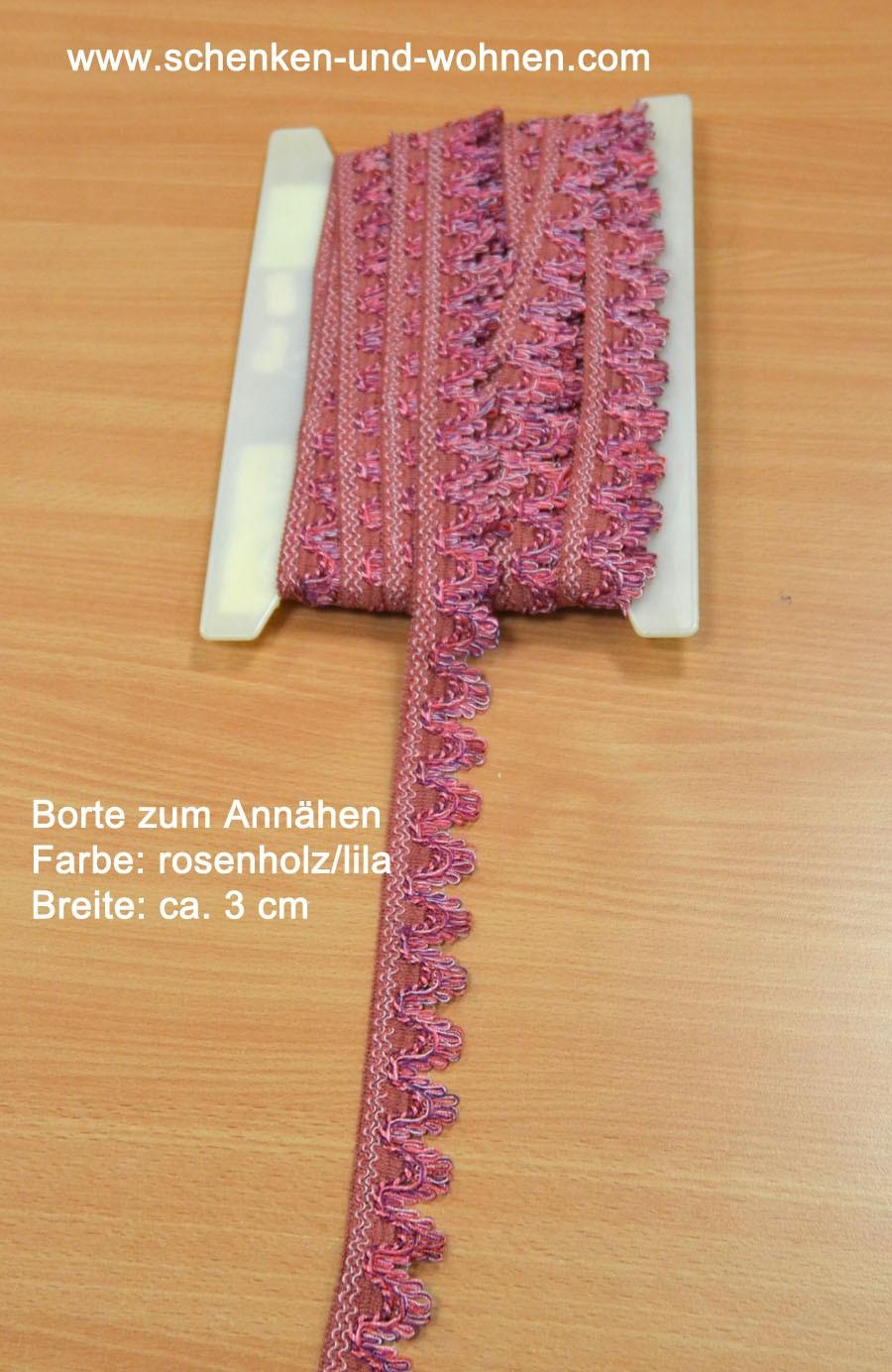 Spitze Borte 3 cm breit rosenholz lila