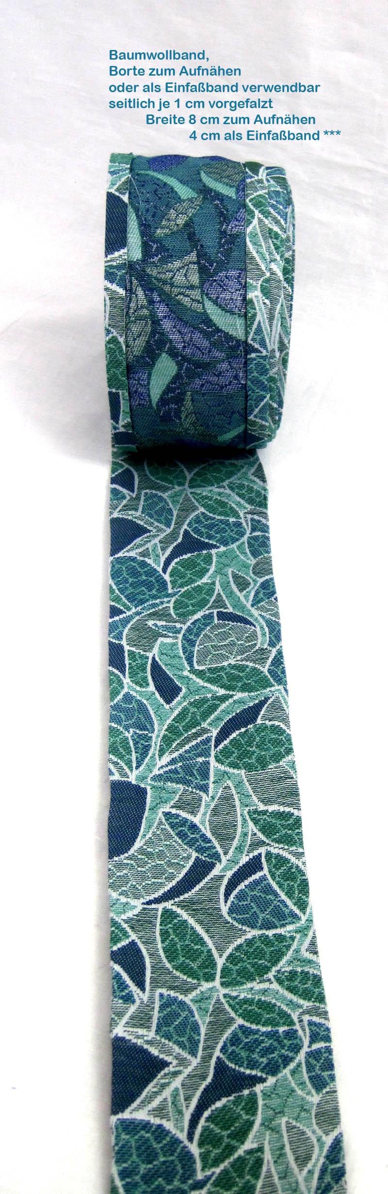 Borte zum Aufnähen 8 cm breit oder Einfassband 4 cm grün-blaugrau