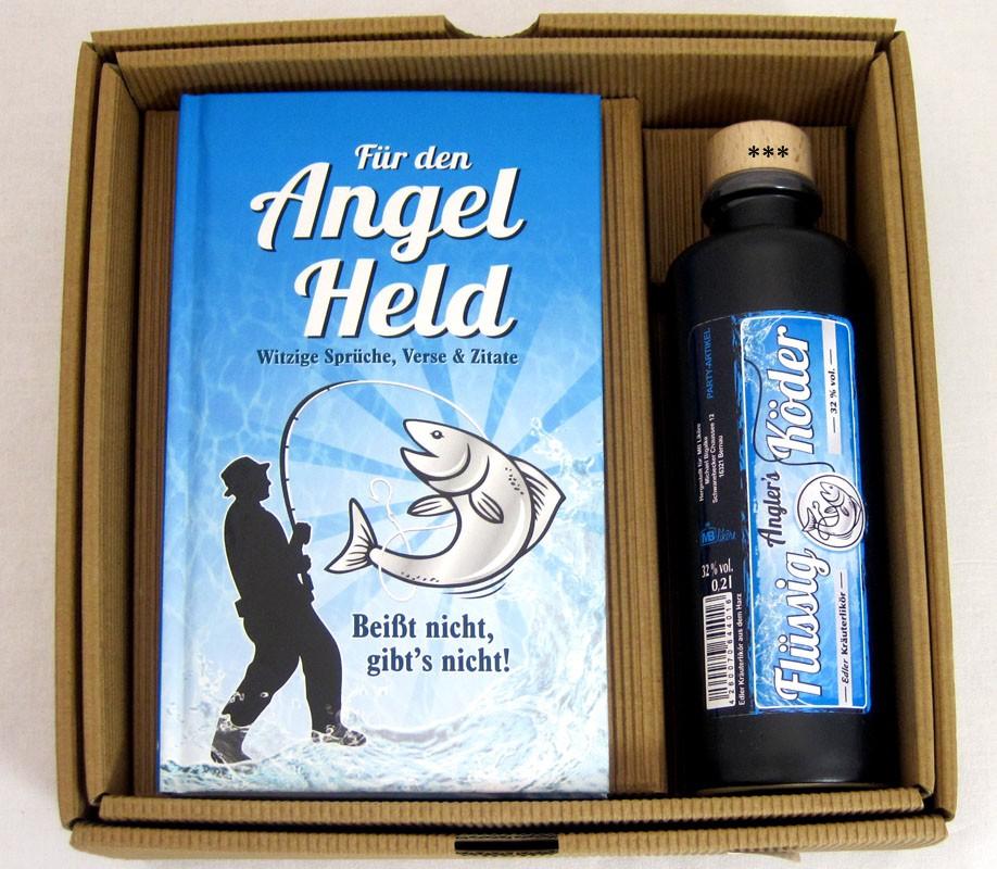 Geschenkbox für den Angelheld mit 0,2l Kräuterlikör 32% vol.