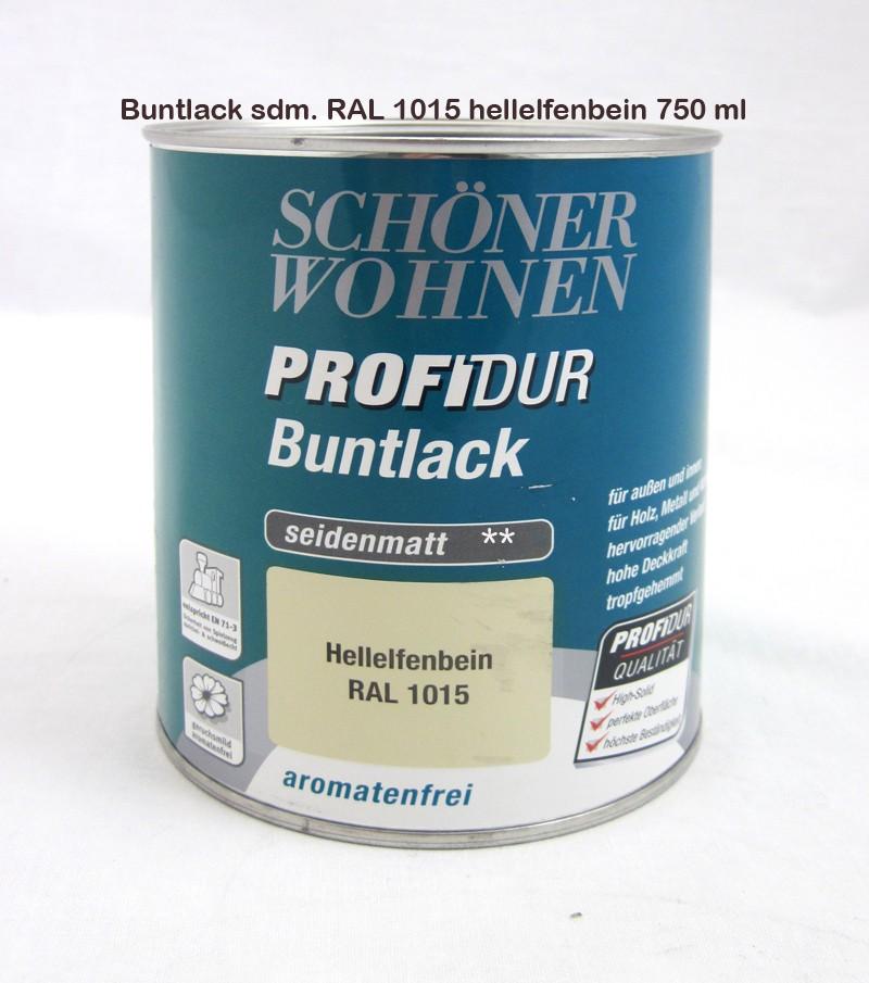 ProfiDur Buntlack Kunstharzlack seidenmatt RAL 1015 Hellelfenbein 375 ml