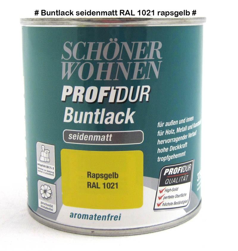 ProfiDur Buntlack - Kunstharzlack, seidenmatt RAL 1021 Rapsgelb 0,125 l