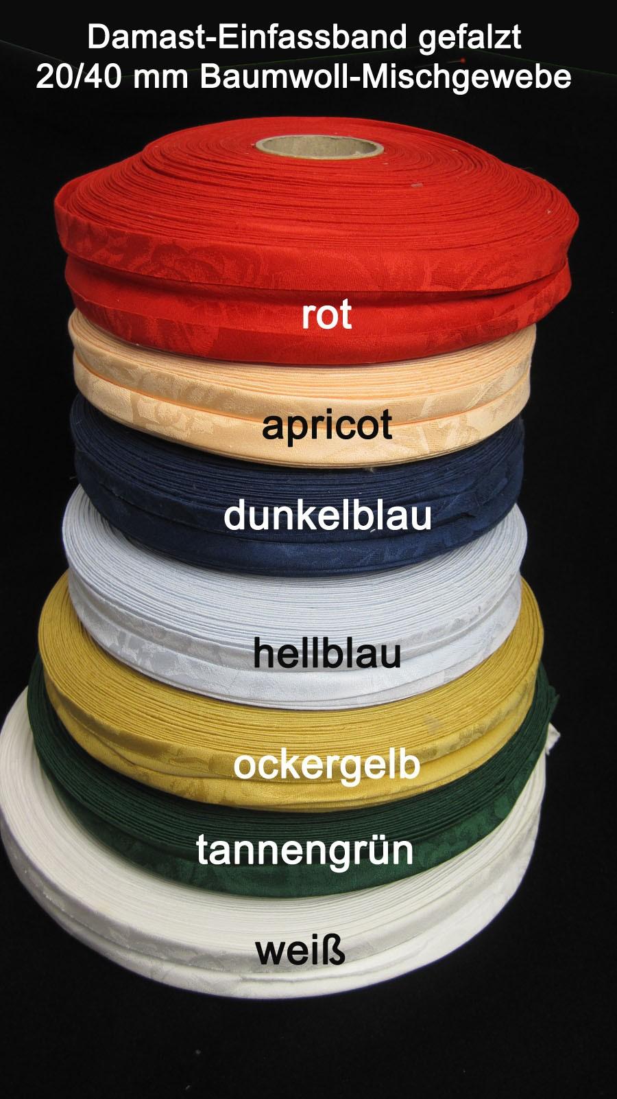 Damast-Einfassband 40/20 mm  vorgefalzt Hellblau 5 lfdm.
