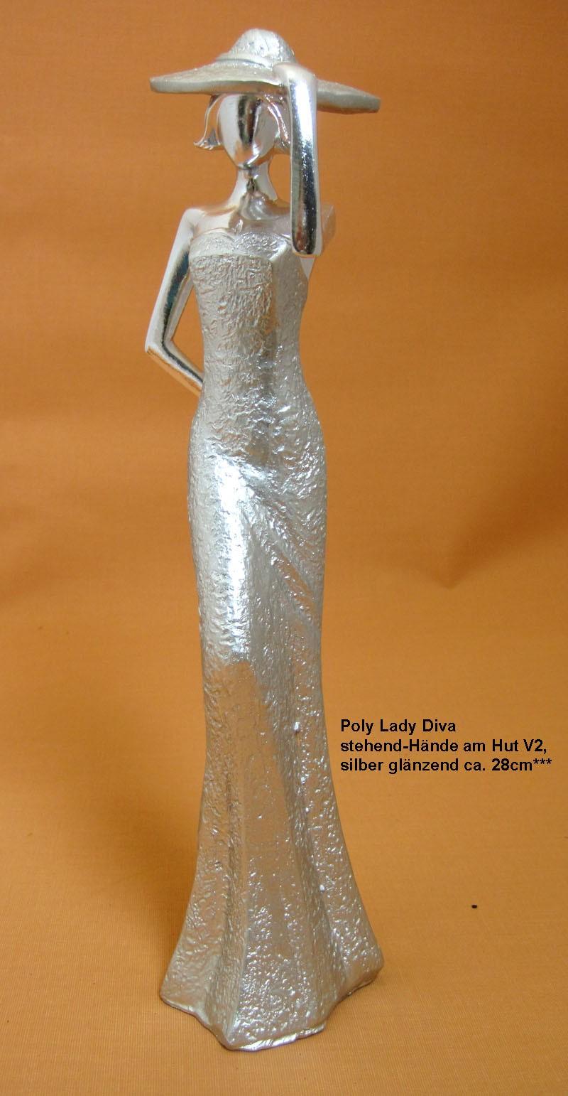 Poly Lady Diva stehend-Hände am Hut V2, silber glänzend ca. 30cm