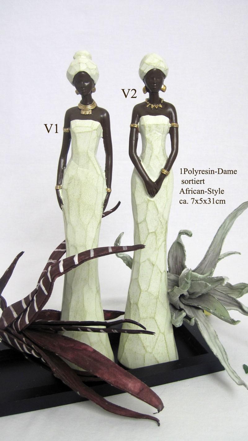 1 Dekofigur Afrika - Dame creme/braun stehend ca. 7 x 5 x 31 cm (B/T/H)