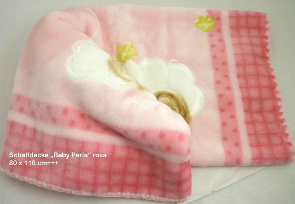 Wohn-und Schlafdecke  Baby Perla -Teddy Rosa, 80 x 110cm, 600g/m²