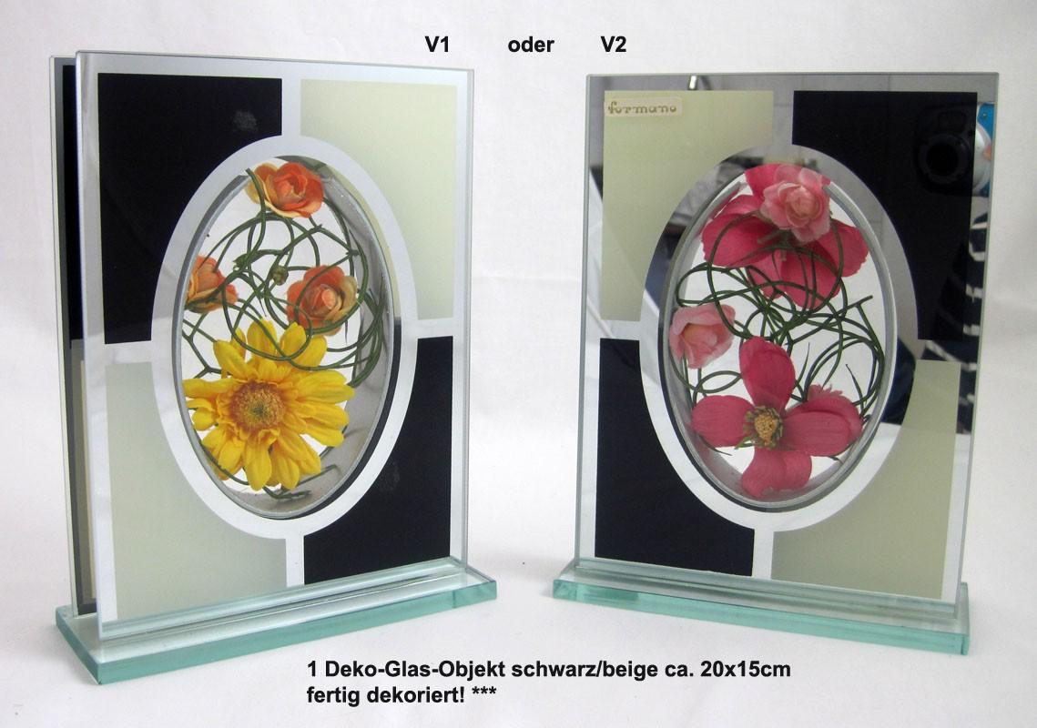 1 Deko-Glas-Objekt schwarz/beige ca. 20x15cm fertig dekoriert!