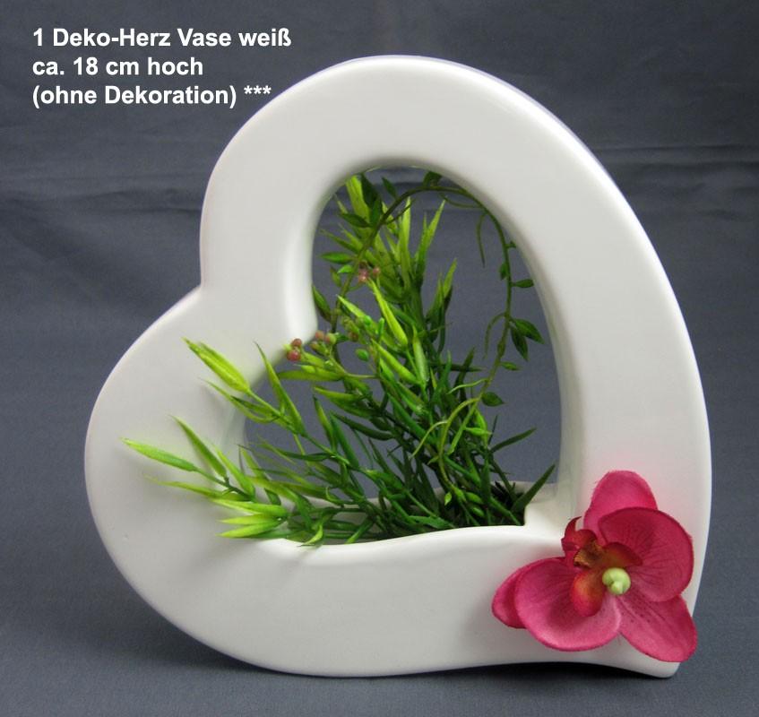 1 Deko-Herz Vase, weiß, ca. 18 cm hoch