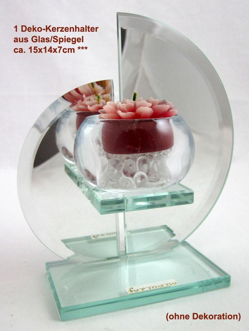 1 Deko-Kerzenhalter aus Glas ca. 15x14x7cm