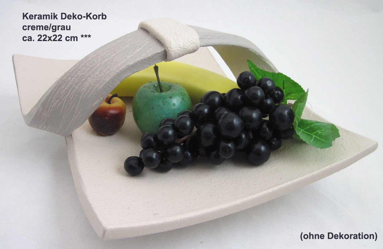 Keramik Deko-Korb creme/grau ca. 22x22 cm