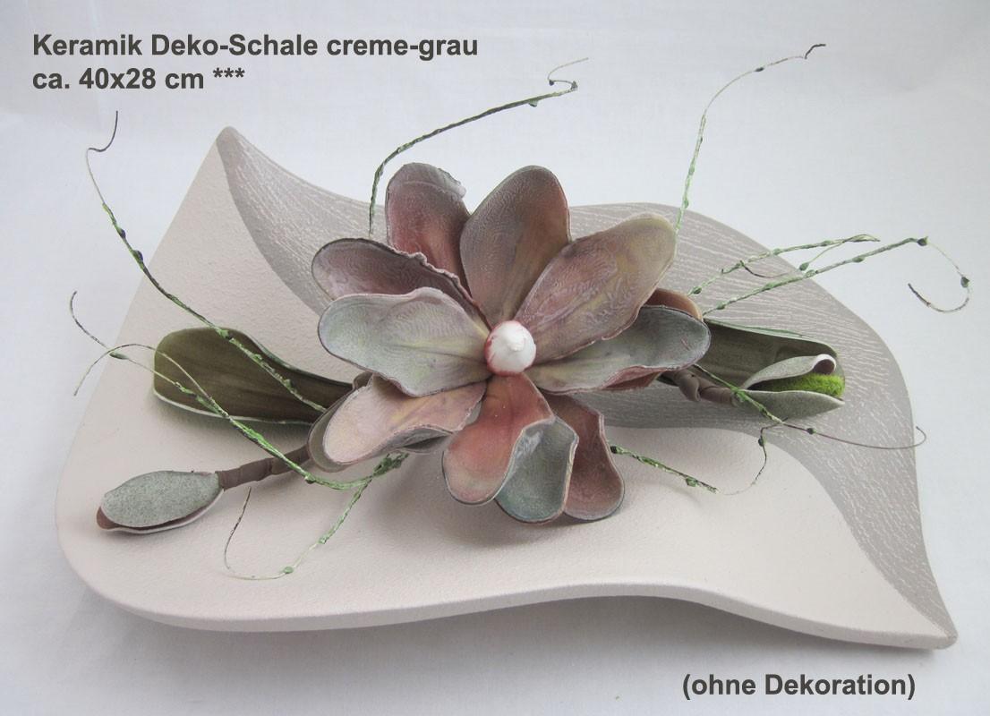Keramik Deko-Schale creme/grau ca. 40x28cm