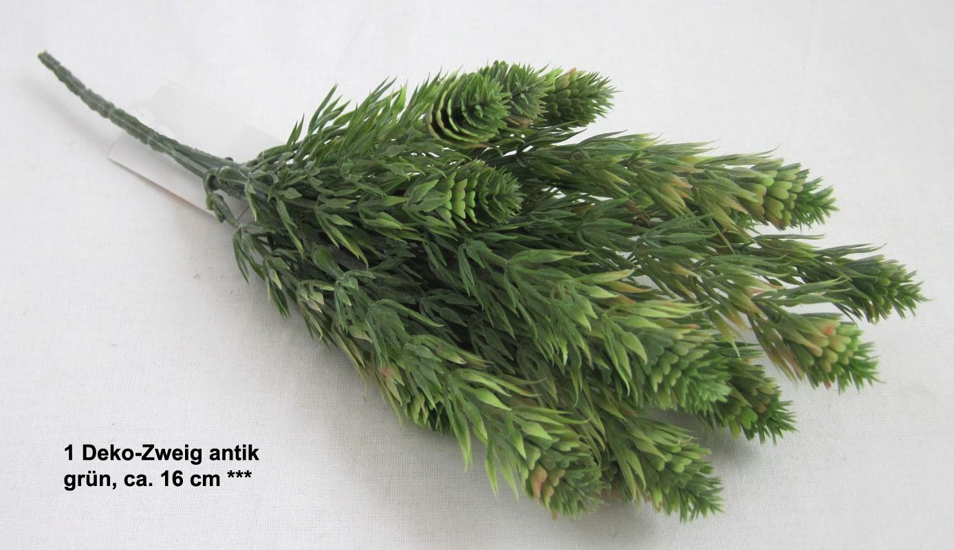 1 Deko-Zweig antik, künstlich, grün, ca. 16 cm