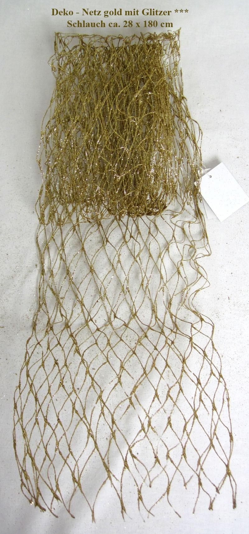 Deko-Netz gold mit Glitzer als Schlauch ca. 28 x 180 cm (B x L) Kunststoff