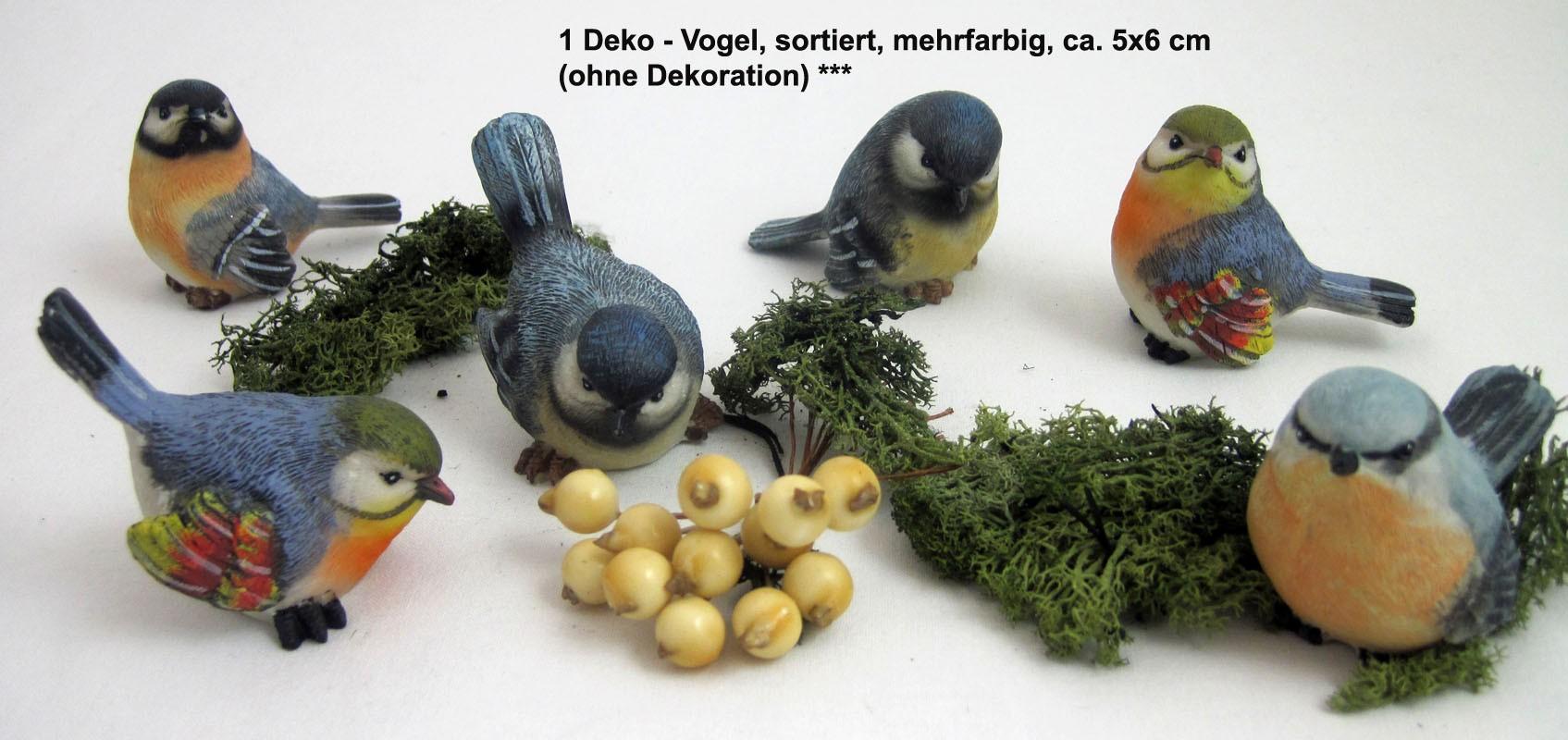 1 Deko - Vogel Kohlmeise, sortiert, mehrfarbig, ca. 5x6 cm