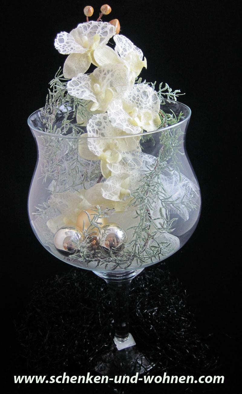 Deko - Glas weihnachtlich dekoriert  ca. 50  x  26 cm (H/B)