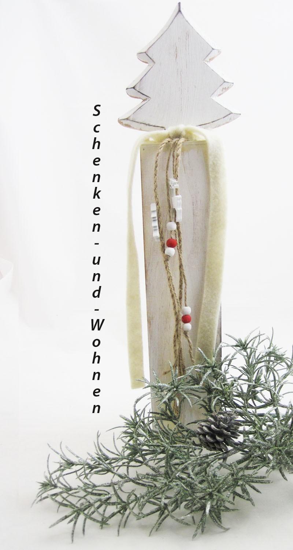 Holzsäule/Ständer mit Tanne und Deko antik-weiß gewischt, ca. 8 x 8 x 54 cm