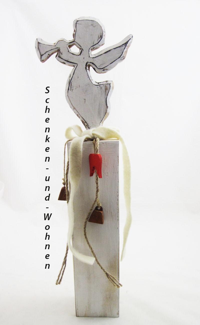 Holzsäule/Ständer mit Engel und Deko antik-weiß gewischt, ca. 8 x 8 x 54 cm