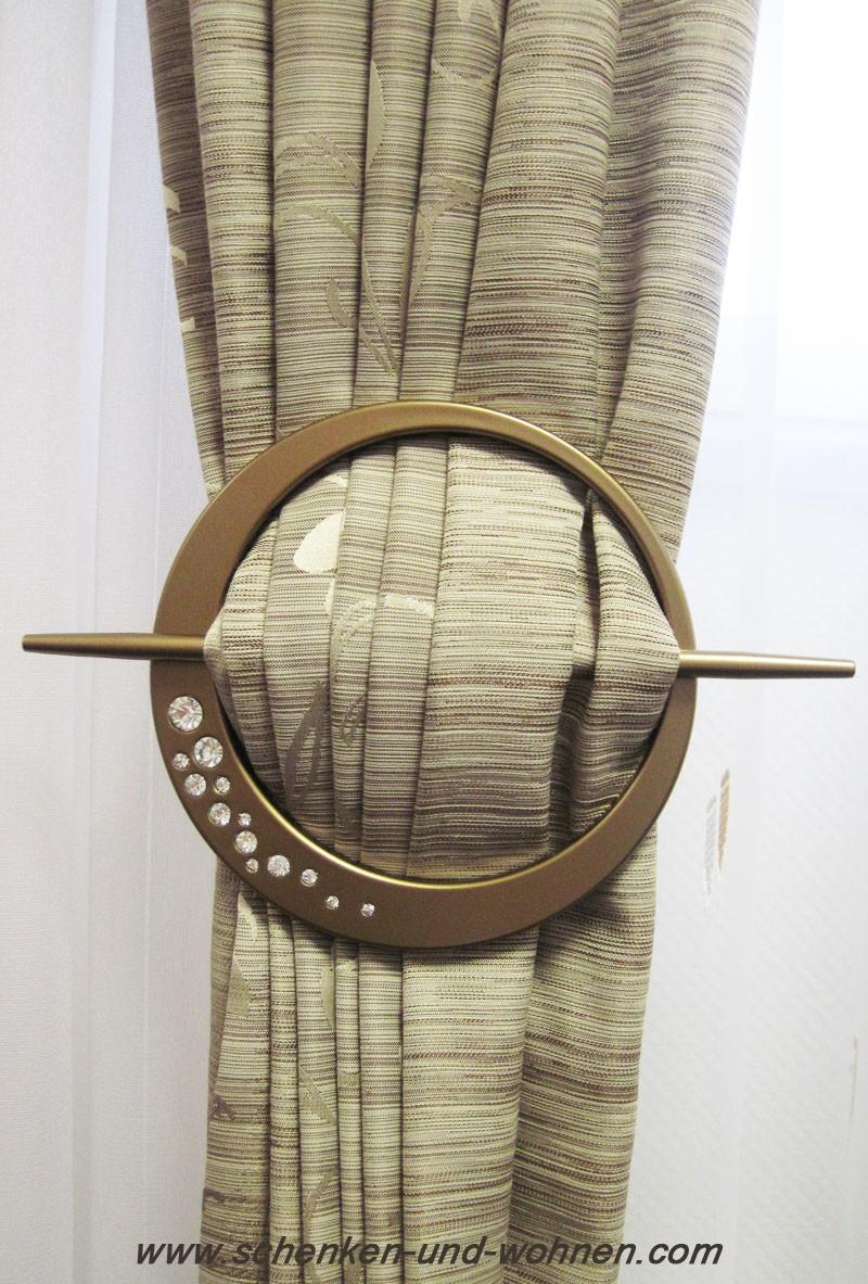 Dekospange mit Kristallen, Kunststoff messing-antik, rund ca. 16 cm