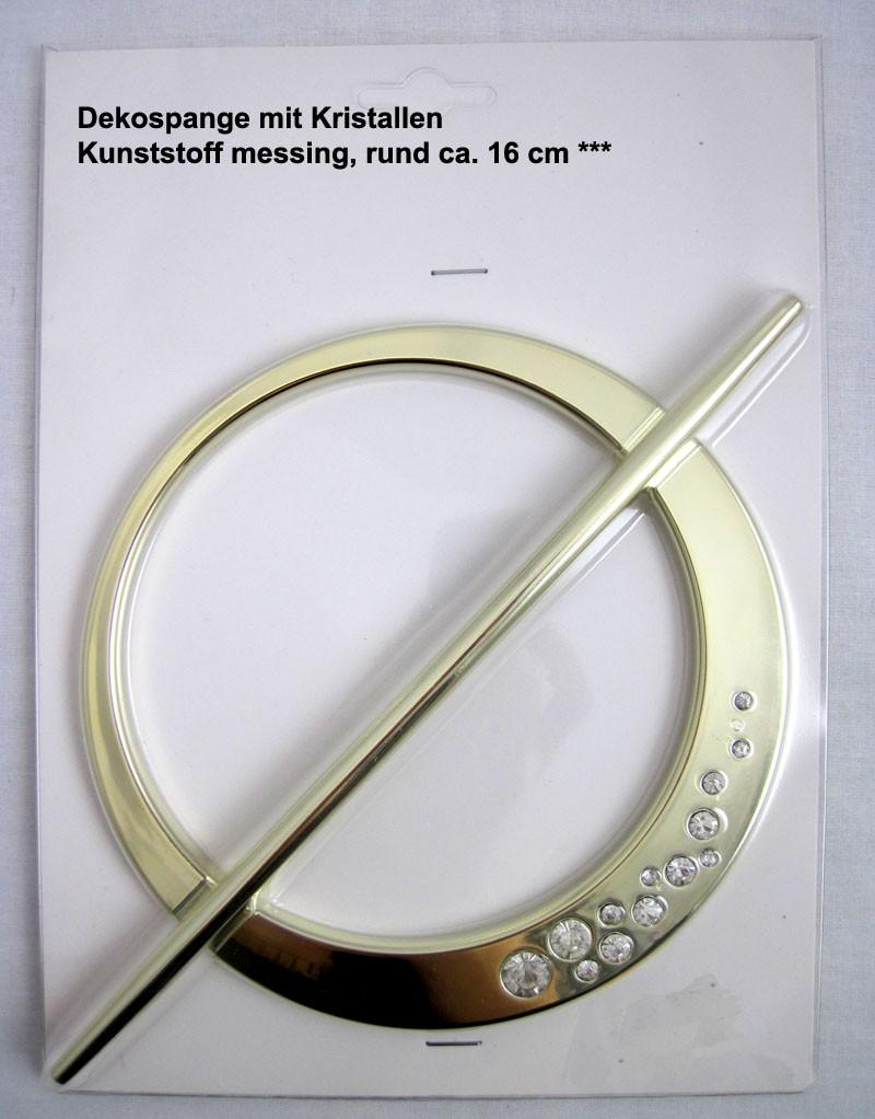 Dekospange mit Kristallen, Kunststoff messing, rund ca. 16 cm