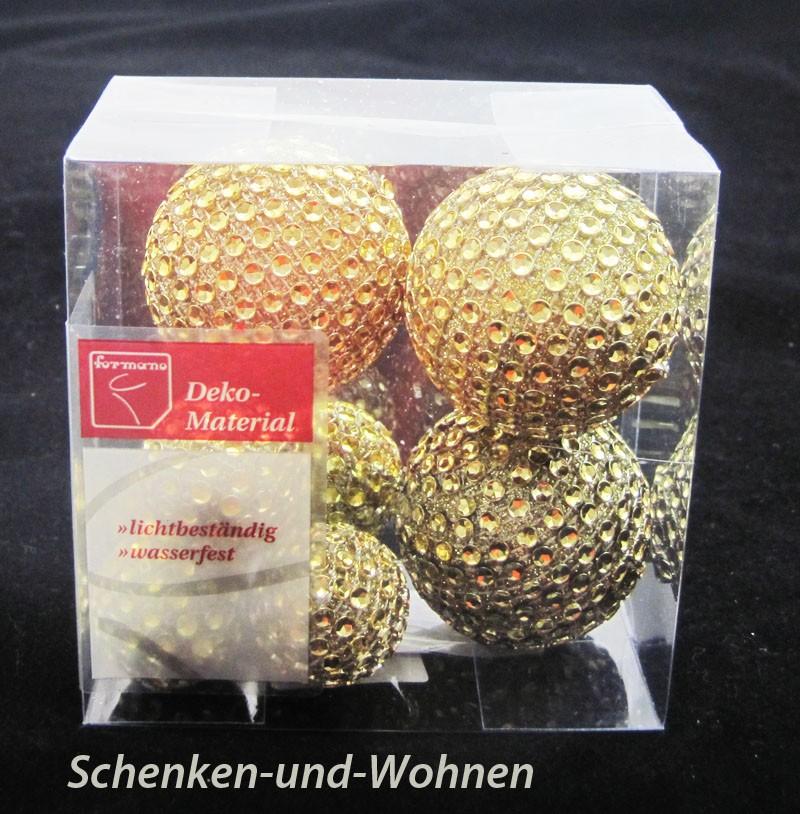 Diamantbälle/Diamantkugeln 8tlg., gold ca. 3,0/5,0 cm Durchmesser