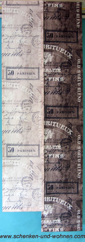 Flächenvorhang mit modernem Schriftdruck 40 x 200 cm braun
