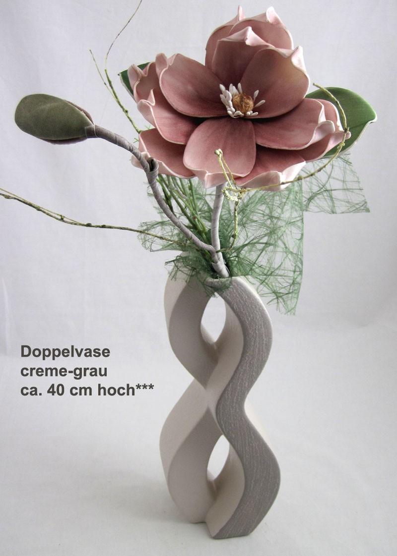 Keramik - Doppelvase creme/grau, ca. 40 cm