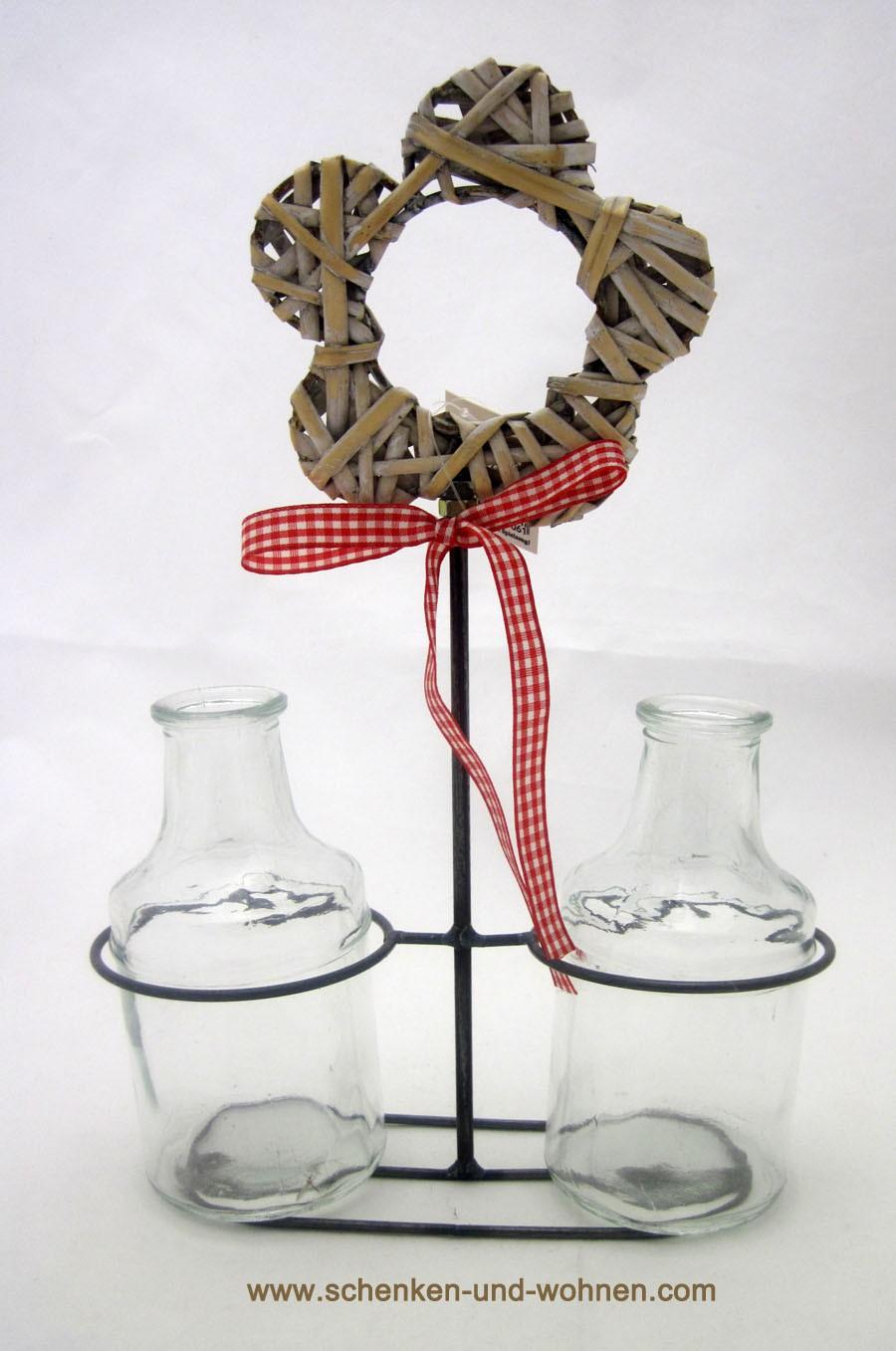Drahtdeko mit 2 Glasflaschen