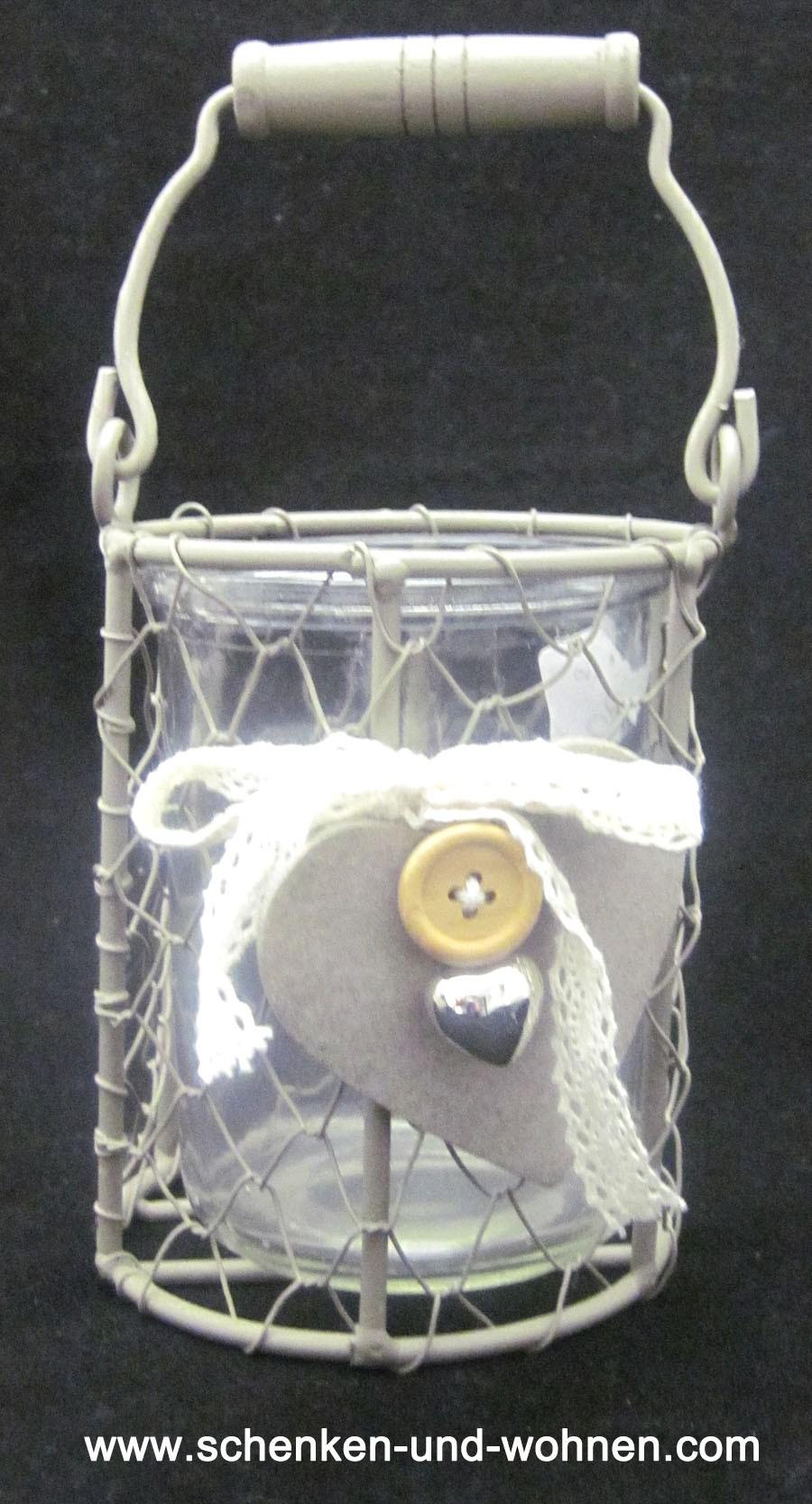 Drahtdeko mit Glasgefäß-Einsatz 11 cm rund