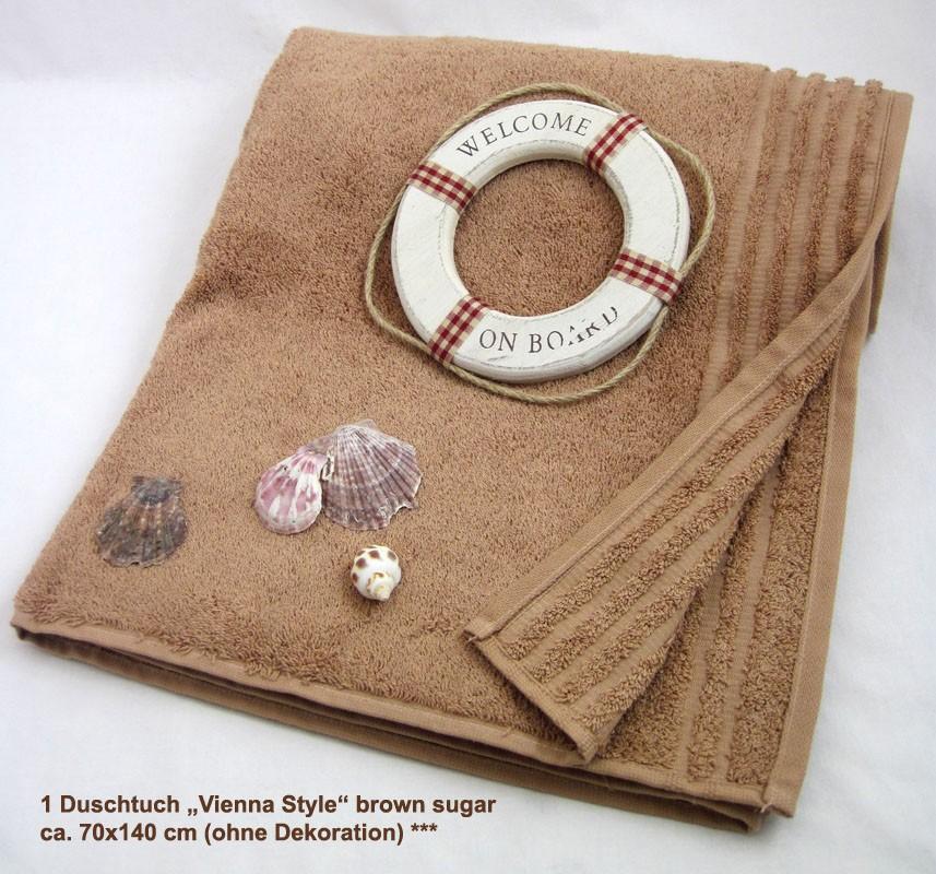 """1 Duschtuch """"Vienna Style""""  brown sugar ca. 70x140 cm"""