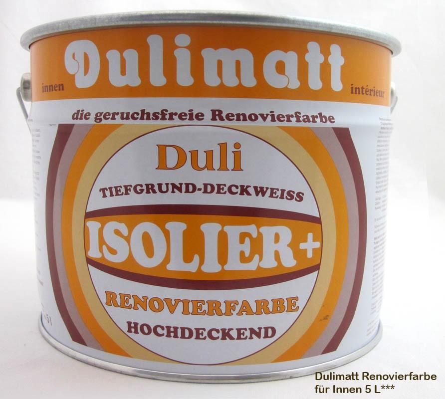 Dulimatt - Isolierende Schnellrenovierfarbe Weiß hochdeckend 5l / 7kg
