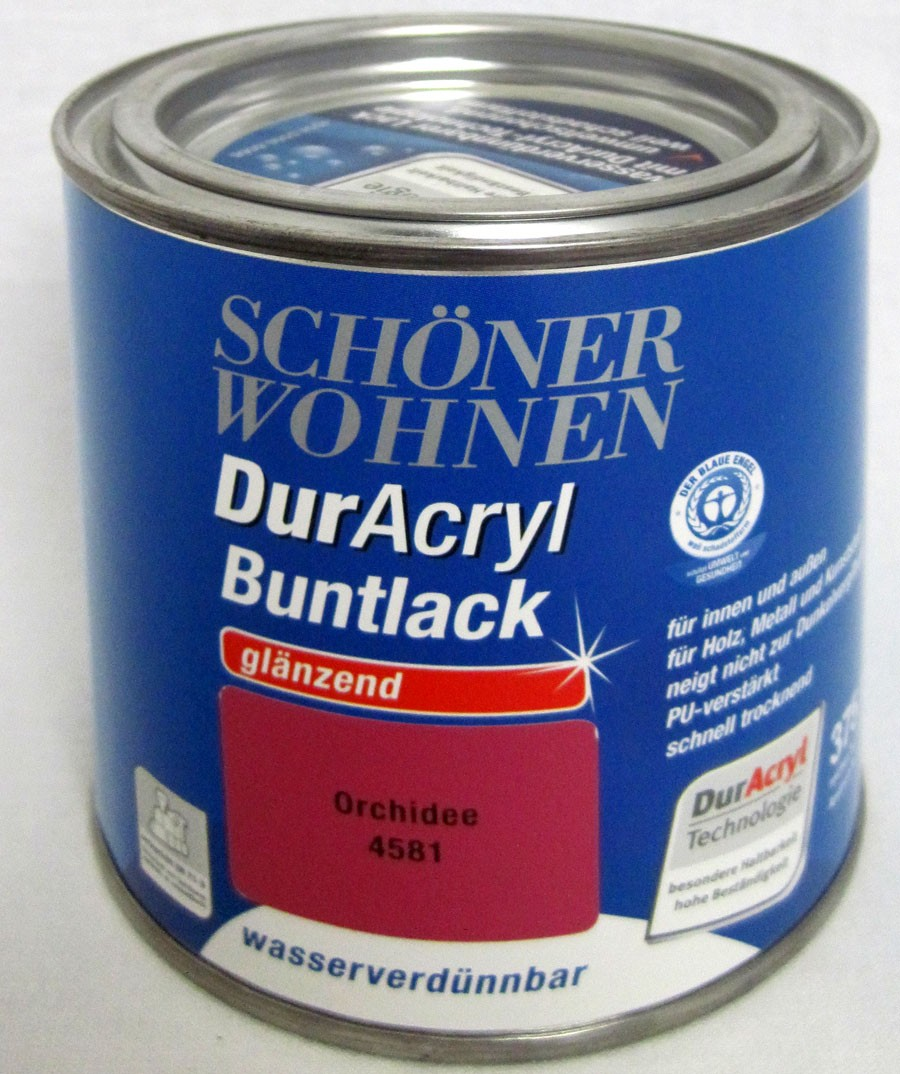 Duracryl Buntlack glänzend Orchidee 4581 wasserverdünnbar 375 ml