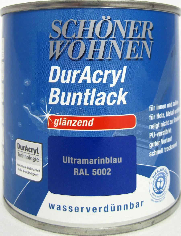 Duracryl Buntlack glänzend Ultramarinblau RAL 5002 wasserverdünnbar 375 ml